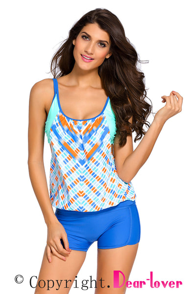 Printed Layered-Style Blue Tankini with Swim Trunks