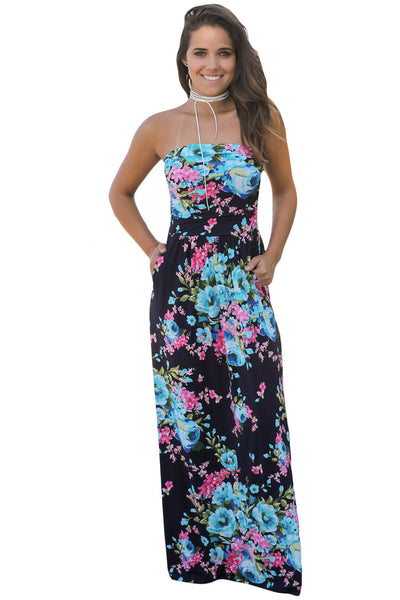 Navy Pink Floral Strapless Maxi Dress with Pockets