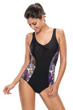 Tank Design Print Side One-piece Swimwear