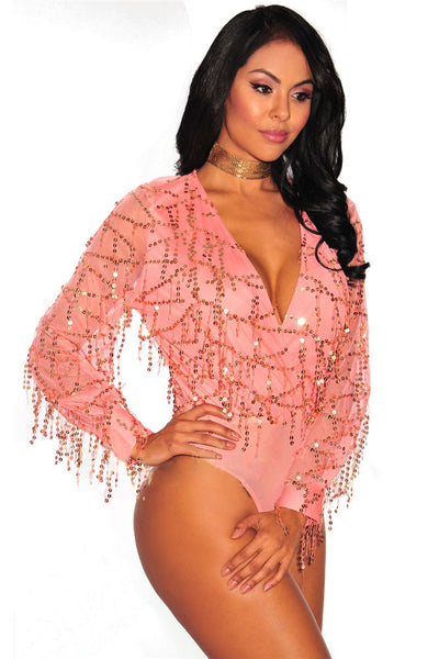 Pink Flowing Sequins Long Sleeves Bodysuit