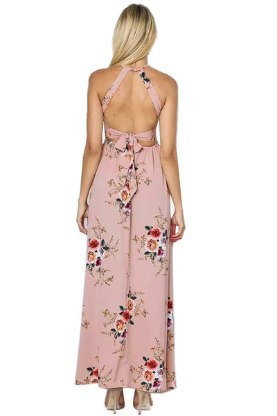 Apricot Floral Cutout Back Halter Split Maxi Boho Dress