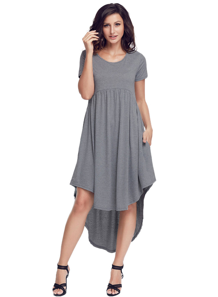 Grey Short Sleeve High Low Pleated Casual Swing Dress