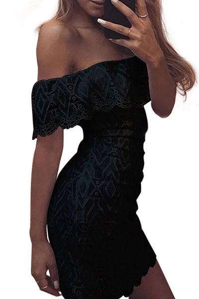 Black Lace Crochet Off Shoulder Scalloped Bodycon Dress