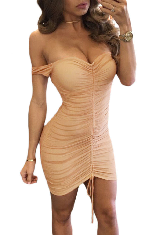 Pink Mesh Nude Illusion Ruched Off Shoulder Dress