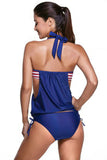 2pcs Navy Splice Stripes&Stars Halter Tankini Swimsuit