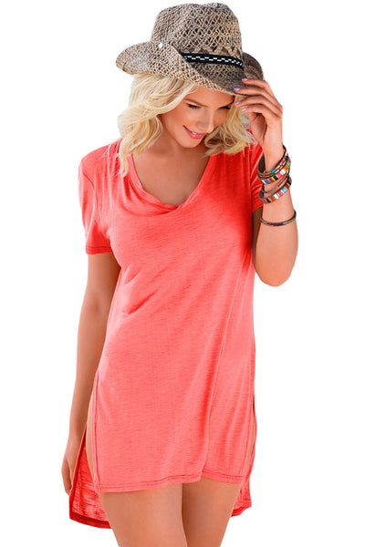 Coral Pink Cozy Short Sleeves T-shirt Cover-up
