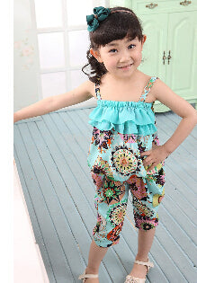 NEW Children Summer Clothing Sets Girls Spaghetti Strap leopard Top Twinset Casual Pants For 2-10 Years Old Bohemia Beach Set