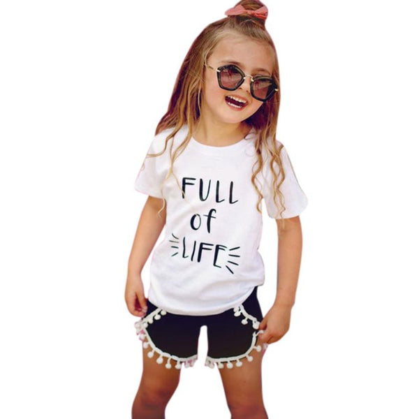 Toddler Kids Baby Girls Clothes Summer Short Sleeve T-Shirt + Tassel Short Hot Pant 2pcs Outfit Fashion Kids Clothing Set