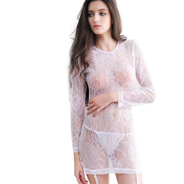 Women Sexy Lingerie Lace Hollow-out Long Sleeve Set Underwear