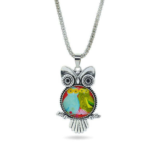 Fashion Time Gemstone pendant necklace Bigeye Three Owl Chain Necklace