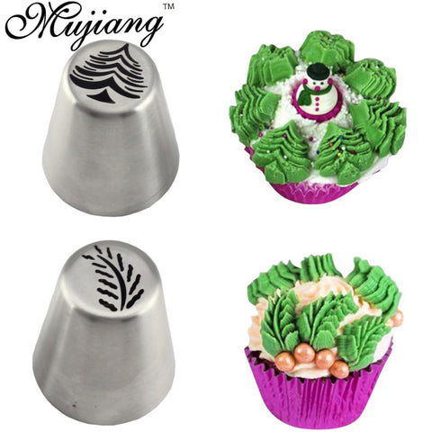 Mujiang 2 Pcs Christmas Tree Russian Nozzles Stainless Steel Icing Piping Pastry Tips Cupcake Fondant Cake Decorating Tools