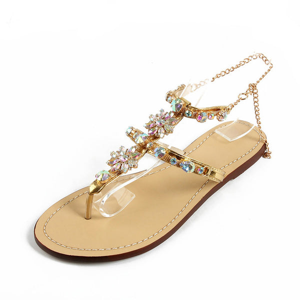 2018 Fashion Women Sandals Flat Heel Sandalias Bohemian Rhinestone Chain Women Shoes Thong Flip Flops Zapatos Mujer