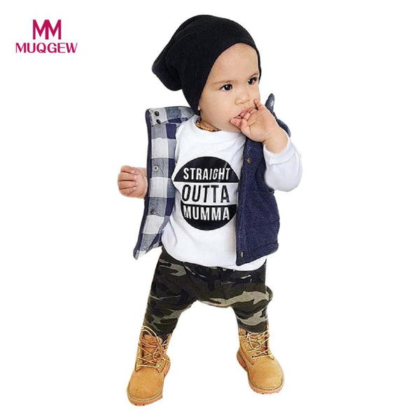 MUQGEW Baby Boy Clothes Newborn Infant Baby Boy Cotton Letter Long Sleeve T shirt Tops+Camouflage Pants Outfits Clothes Set