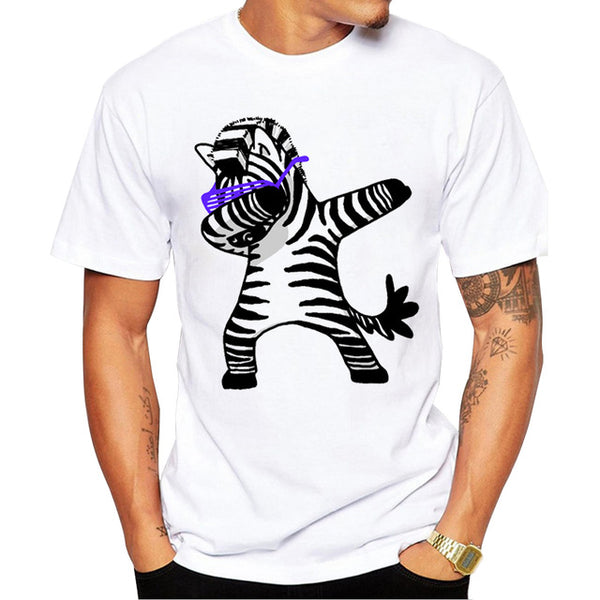 2018 Summer Fashion Dabbing Pug T-Shirt Newest Men Funny T Shirts Dabbing Unicorn/Cat/Zebra/Panda Tops Hip Hop Tee
