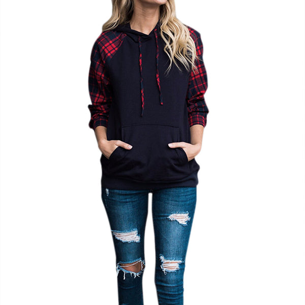 Spring Drawstring Hooded Sweatshirt Women Hoodie Tops Tumblr Moletom Plaid Long Sleeve Pullover Blouse