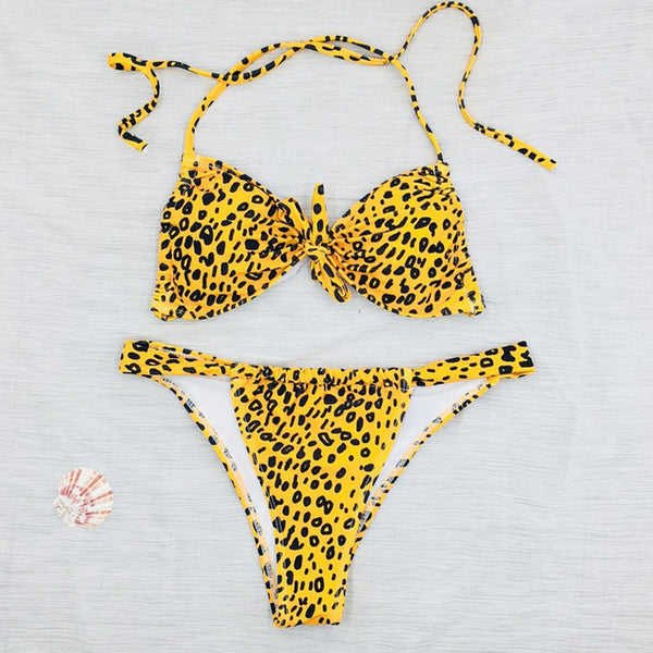 2018 Dot Leopard  Print Swimwear Women Bikini Woman New Summer swim Sexy Swimsuit Strapless Bikini set Bathsuit