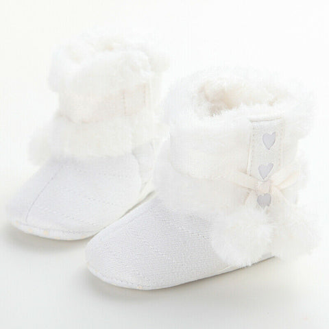 US Newborn Baby Girl Toddler Fur Boots Soft Sole Crib Shoes Booties Prewalker