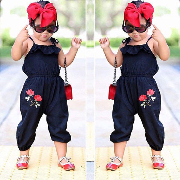 Fashion Baby Kids Girls Flowers Strap Sleeveless Romper Jumpsuit Outfits Clothes