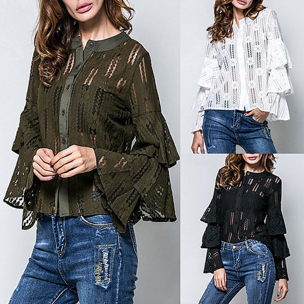Women's Crew Neck Floral Lace Ruffle Long Sleeve Hollow Out T-Shirts Tops Blouse