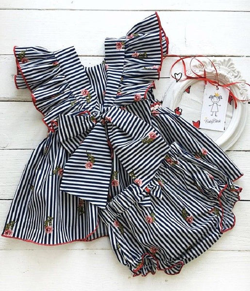 Toddler Baby Girls Striped Tops T shirt Shorts 2pcs Outfits Set Sunsuit Clothes