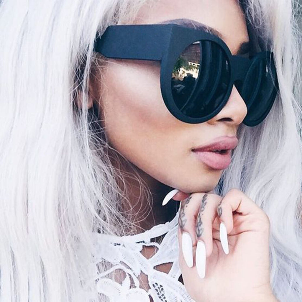 a26743eaaae Round Cat Eye Oversized Sunglasses Thick Vintage Style Frame Women Fashion