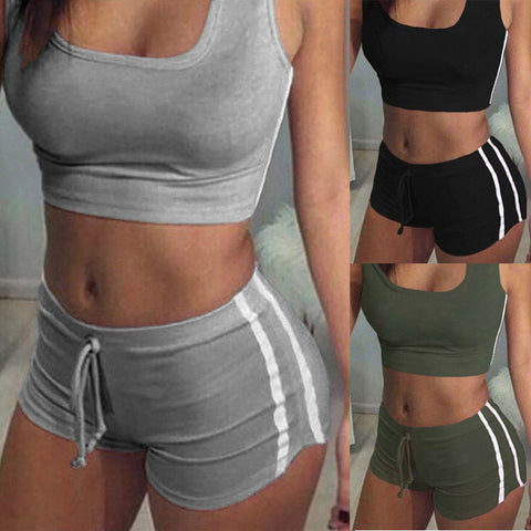 US Women's Fitness, Running & Yoga Athletic Suits Top+High Waist Short Pants New
