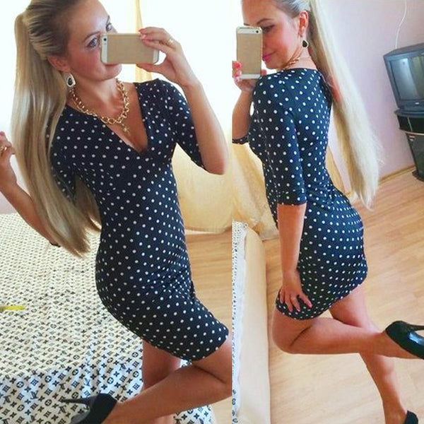 New Fashion Womens Polka Dot Casual Short Sleeve Mini Dress Party Dress Hottest