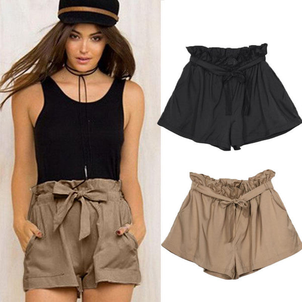 Fashion Women Casual Pants Summer High Waist Loose Shorts Hot Pants With Belt