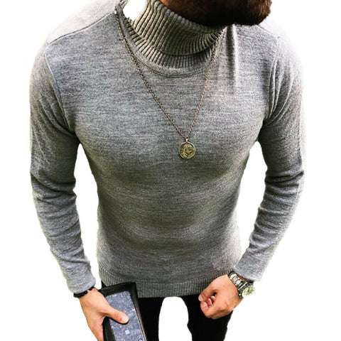 Men's Winter Warm Sweater Slim Fit Knitted High Neck Pullover Jumper Turtleneck