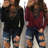 USA Womens Summer Long Sleeve Shirt Casual Blouse Loose Cotton Tops T Shirt