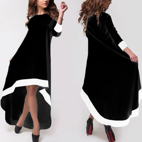 S-5XL Zanzea Women 3/4 Sleeve HIgh Low Irregular Cocktail Long Maxi Dress