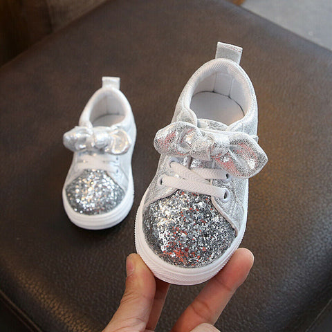 1-3 Years Toddler Baby Girls Bow Sequin Crib Shoe Trend Casual Shoes Dress Shoes