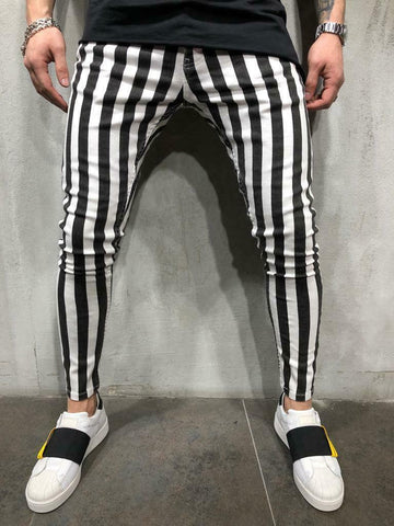Men's Slim Fit Trouser Striped Plaid Black White Casual Sport Pant Gym Trousers