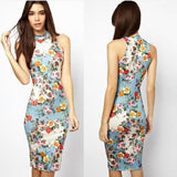 Women Dress Floral Printed Sleeveless Vintage Casual Mini Pencil Dress SlimDress