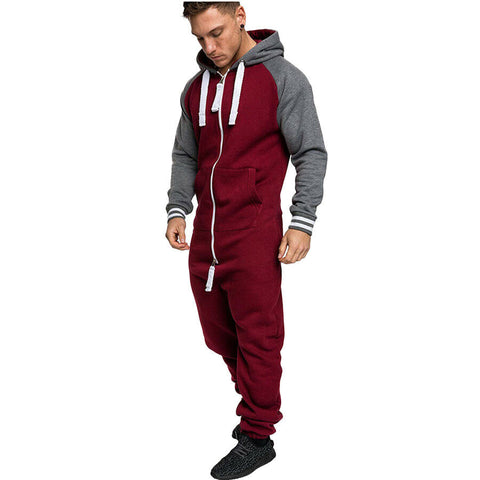 Mens Long Sleeve Zip Up Coverall One Piece Romper Jumpsuit Playsuit Casual pants