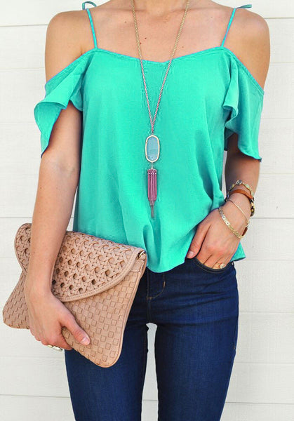 Women Off Shoulder Tops Short Sleeve Shirt Casual Blouse Loose T-shirt US Stock
