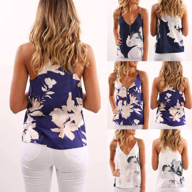 Summer Women Blouse Floral Short Sleeve Ladies Chiffon Loose Casual T-shirt Tops
