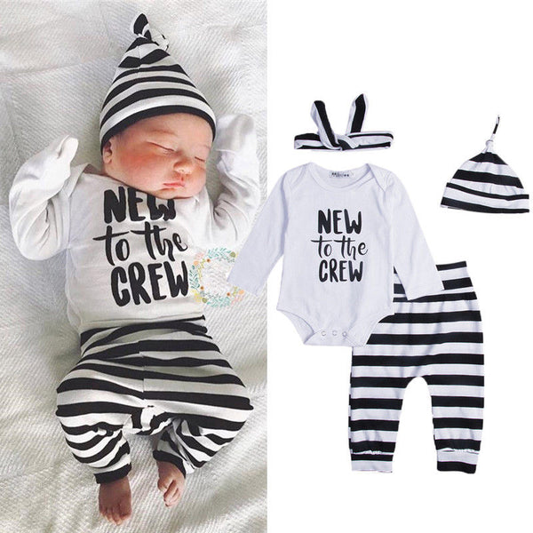 US Stock Infant Baby Boy Girls Top Romper Bodysuit+Long Pants Outfit Clothes lot