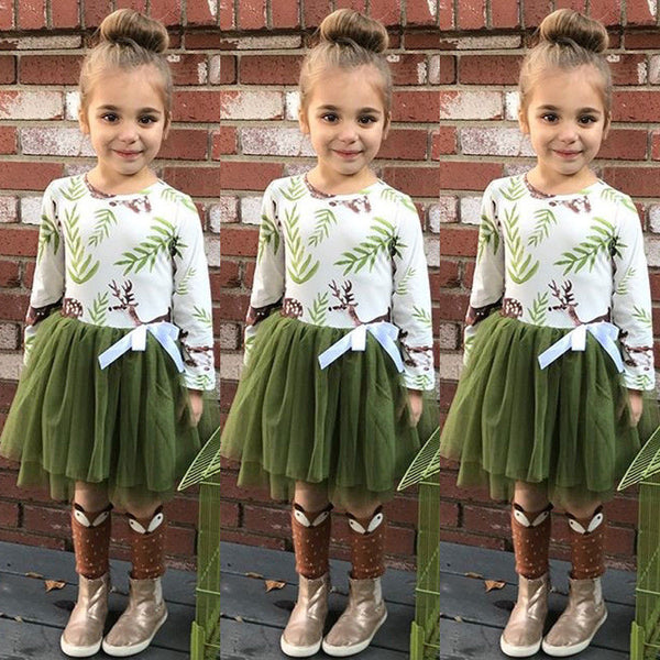 2018 Christmas Kids Baby Girls Dress Xmas Deer Tutu Dresses Party Casual Clothes