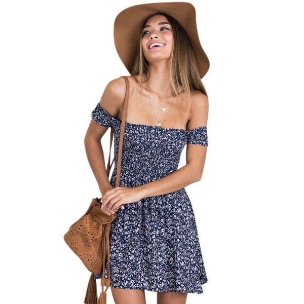 Women Summer Split Beach Short Dress Off Shoulder Floral Print Mini Dress US
