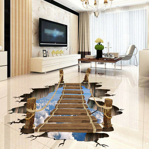 3D Bridge Printed Floor Wall Sticker Removable Mural Decals Home Decors 80*100cm