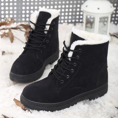 Classic Women's Snow Boots Fashion Winter Warm Girl Short Boots Stylish Flattie W