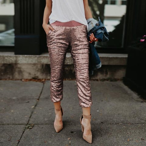 Women High Waist Skinny Pants Sequin Glitter Leggings Joggings Trousers Clubwear