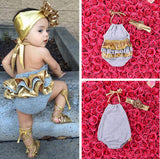 Newborn Toddler Baby Girl Backless Skirt Romper Jumpsuit Headband Outfit 0-2T US