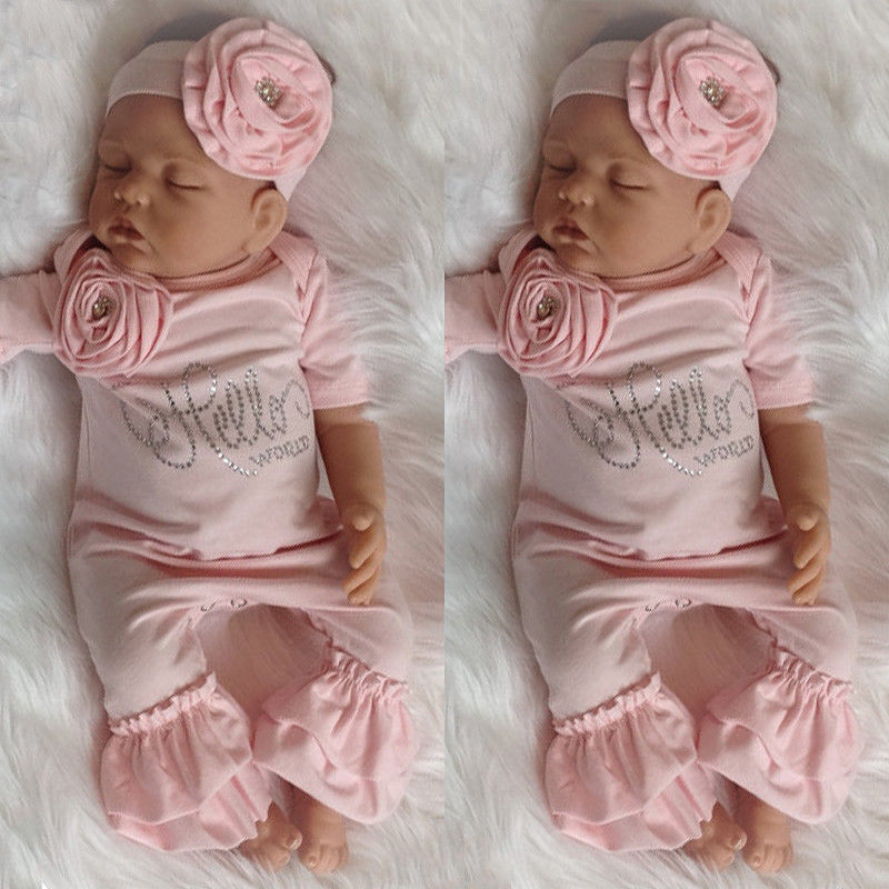 7f82aaed9 Newborn Baby Girl 3D Flower Romper Bodysuit Jumpsuit Headband Outfit  Clothes USA