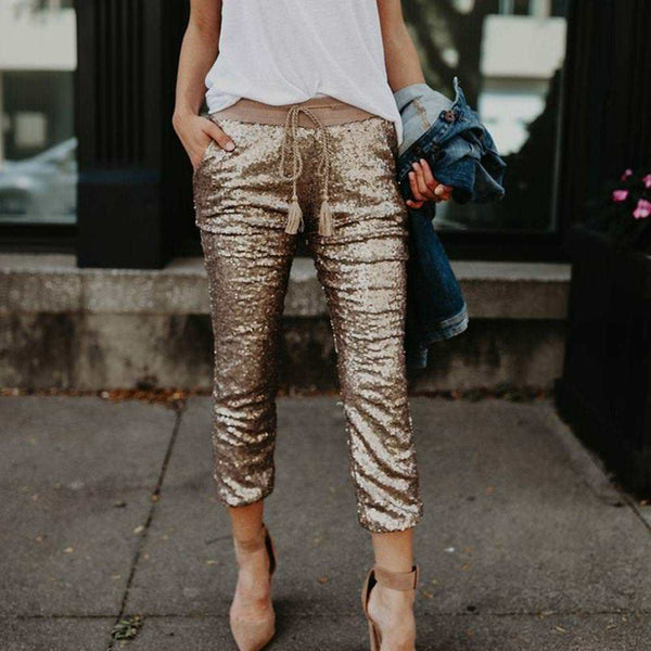 Fashion Sequins Skinny Long Pants Women Drawstring Trousers Stretchy Tight Pants