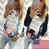 Fashion Women Ladies Long Sleeve Casual Loose Shirt Tops Blouse T-Shirt Floral