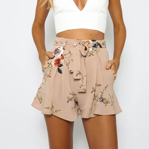 Women Skirt Summer Print Short Pants Wide Leg Shorts Lotus Leaves Beach Shorts