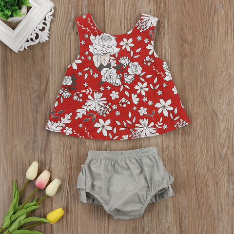 US Flower Newborn Baby Girls Outfit Clothes Romper Tops T-shirt+Shorts Pants Set