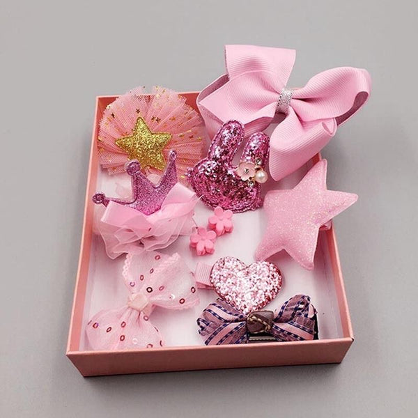 10PCS Kids Baby Girls Lace Bow Hair Clips Flower Barrette HairPins Gift Box Set
